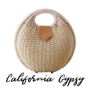 Circular boho rattan bag
